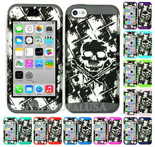 For Apple iPhone 5c KoolKase Hybrid Armor Silicone Cover Case - Skull Cross 91