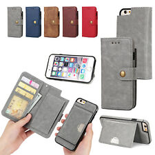 For iPhone 7/Plus Detachable Magnetic Leather Wallet Flip Card Stand Case Cover