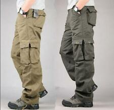 Mens Casual Cotton Blend Loose Fit Straight Leg Cargo Pants Military Trousers