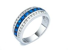 Princess Sapphire + Pave Clear 5A Cubic Zirconia Sterling Siver Band Ring-925