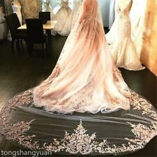 1 T Elegant Cathedral Veils Lace White Ivory Champagne Wedding Veils + Comb 2017