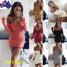 Women Off Shoulder Stretch Bodycon Evening Party Cocktail Long Sleeve Mini Dress