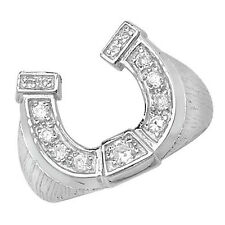 Horseshoe Ring Men's Gents Solid Sterling Silver ring size R - W