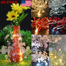 US 2X 10LEDs Battery Operated Colorful Crystal Pearl Bead LED String Lights Lamp