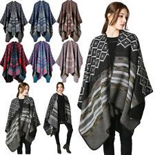 Women's Blanket Tartan Long Knitted Scarf Wrap Shawl Poncho Cape Sweater K2S6