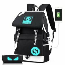 Casual Canvas Backpack Shoulder Bag Rucksack Travel School Bags USB Charger Port