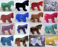 2 HORSE Gemstone Fetish Animal BEADS * 1 Pair Your choice of stone/color