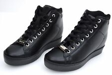 LIU-JO WOMAN SNEAKER SHOES WITH INSIDE WEDGE BLACK LEATHER CODE S66031 P0015