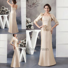 Floor Length Mother Of The Bride Dress +Jacket Wedding Formal Gowns Custom