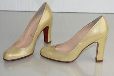 NEW Christian Louboutin SIMPLE PUMP 100 Patent Beige Nude Glitter Shoes 37.5