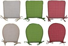 Gingham Check 100% Cotton Seat Pad Round or Square Garden Kitchen Chair Cushion