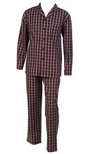Walker Reid Mens Checked Pyjamas 100% Cotton Button Up Top Traditional PJs Red