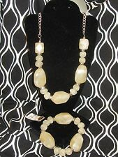 AVENUE NWT $28 marble look necklace and bracelet set beige burgundy blue green