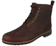 MONTACUTE LORD MENS CLARKS WARMLINED LACE UP LEATHER CASUAL BROGUE ANKLE BOOTS