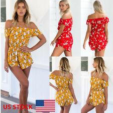 US Women Off Shoulder Floral Printed Summer Chiffon Jumpsuit Rompers Playsuits