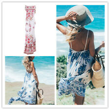 Women's Bohemian Floral Spaghetti Strap Backless Tiered Swing Maxi Dress Beach