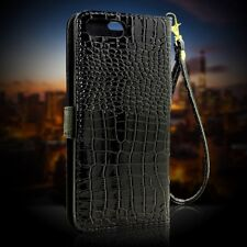 Crocodile Patten Leather Flip Stand Card Case Cover For iPhone 5 6 6S 7 Plus