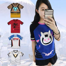 Overwatch D.VA DVA T-shirt Short Sleeve Anime Tops Cartoon Clothing Cosplay Tee