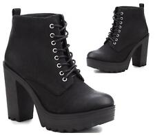 LADIES LACE UP CHUNKY FLAT SOLE PLATFORM WOMENS BLOCK HEEL BIKER ANKLE BOOTS