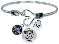 Custom Alzheimers Awareness Never Give Up Bracelet Jewelry Choose Initial Family