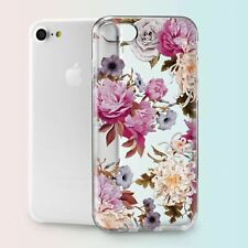 Floral Flowers Art Design TPU Silicone Cover Case Back Apple iPhone 5 6s 7 Plus