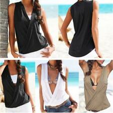 Women's Solid Deep V Neck Sleeveless Tank Tops Elastic Waist Slim Fit Blouses