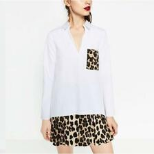 Women's Casual V Neck Long Sleeve Leopard Splice Pocket Pullover Shirt Blouse