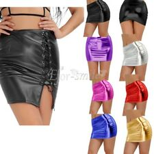 Sexy Women's Mini Skirt Shiny Metallic Liquid Wet look Party Stretchy Clubwear