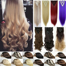 100% Natural Clip in Hair Extensions Full Head Long Ombre 8Pcs 18clips Thick Fk7