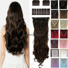 Full Head Long 100% Thick Clip In Hair Extensions 8 Pieces On Straight Wavy MX62