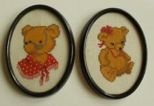Swedish pair of framed, oval  cross-stitched linen pictures with cute teddybears