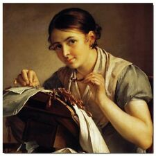 Abstract Stretched Canvas Print Wall Art Vasily Tropinin - The Lace-Maker, squar