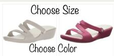 New Crocs Patricia Pink Raspberry/Oyster Slide Sandals Womens Size 9, 10 NWT