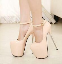 Womens Super High Heel Ankle Strap Platform Pumps Stiletto Mary Jane Party Shoes