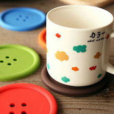 Silicone Cup Mug Glass Beverage Holder Pad Mat Coffee Placemat Button Coaster