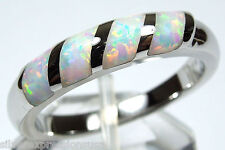 White Fire Opal Inlay Genuine 925 Sterling Silver Band Ring size 8 or 9