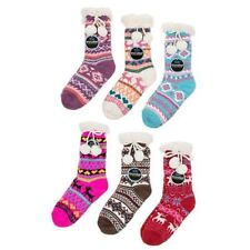Scandi Slipper Socks Nordic Booties Ladies One Size Snoozies with Pom Pom
