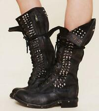 Womens genuine Leather Gothic Lace Up Rivet Motorcyle Military Combat Punk Boots
