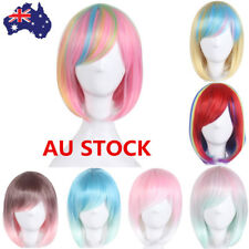 12'' Short Straight Wig Front None Lace Hair Halloween Party Cosplay Wig+Wig Cap