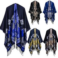 Oversized Women's Bohemian Jacket Cape Fringe Poncho Scarf Shawl Sweater G6Z8