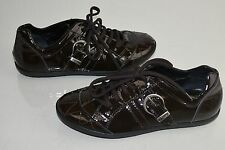 $675 New DIOR Girls Sneakers Patent Leather Brown Quilted Lace Up Shoes 33