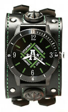 Affliction Standard Watch Black Leather Wide Band Stainless