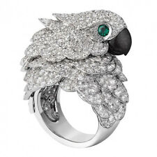 8.6CT White Topaz&Emerald Parrot 925 Silver Ring Vintage Engagement Size 6-10