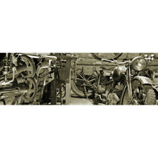 Abstract Stretched Canvas Print Wall Art Vintage Garage