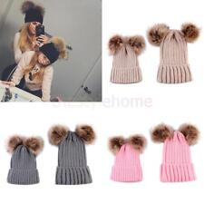 2 PCS Toddle Warmth Knitted Crochet Pom Pom Hats for Infants Baby Boys Girls