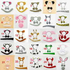 Animal Set Headband Ears Bow Tie Tail Fancy Dress Party Costumes Kit Child Adult