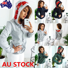 Women Long Sleeve Hoodie Sweatshirt  Hooded Rose Tops Tracksuit Pullover Jumper