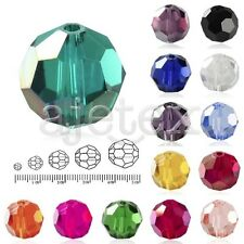 50-150pcs Faceted Loose Crystal Beads Round 3/6/8/10/12mm Jewelry Making DIY