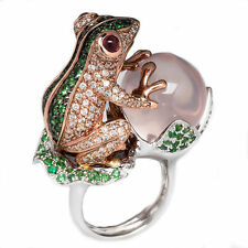 Frog Peach Emerald White Topaz 925 Silver Ring Wedding Engagement Size 6-10