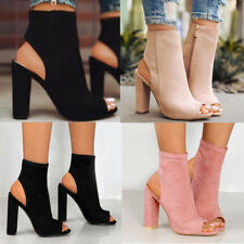 Women Block Heels Platform Open Toe Sandals Boots Side Zipper Slingbacks Shoes
